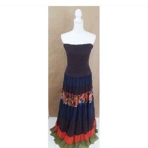 BCBG Strapless Silk Floor Length Multicolor Gown